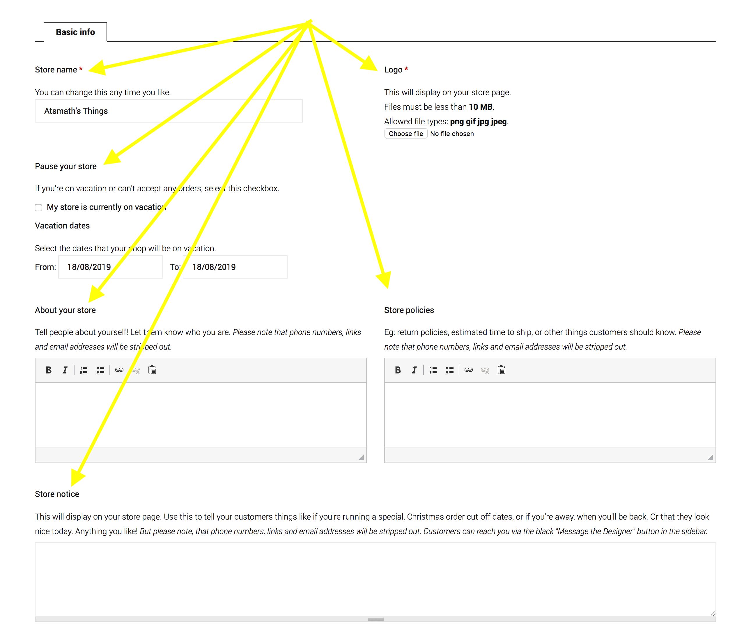 Create your Hello Pretty Store - Basic Info