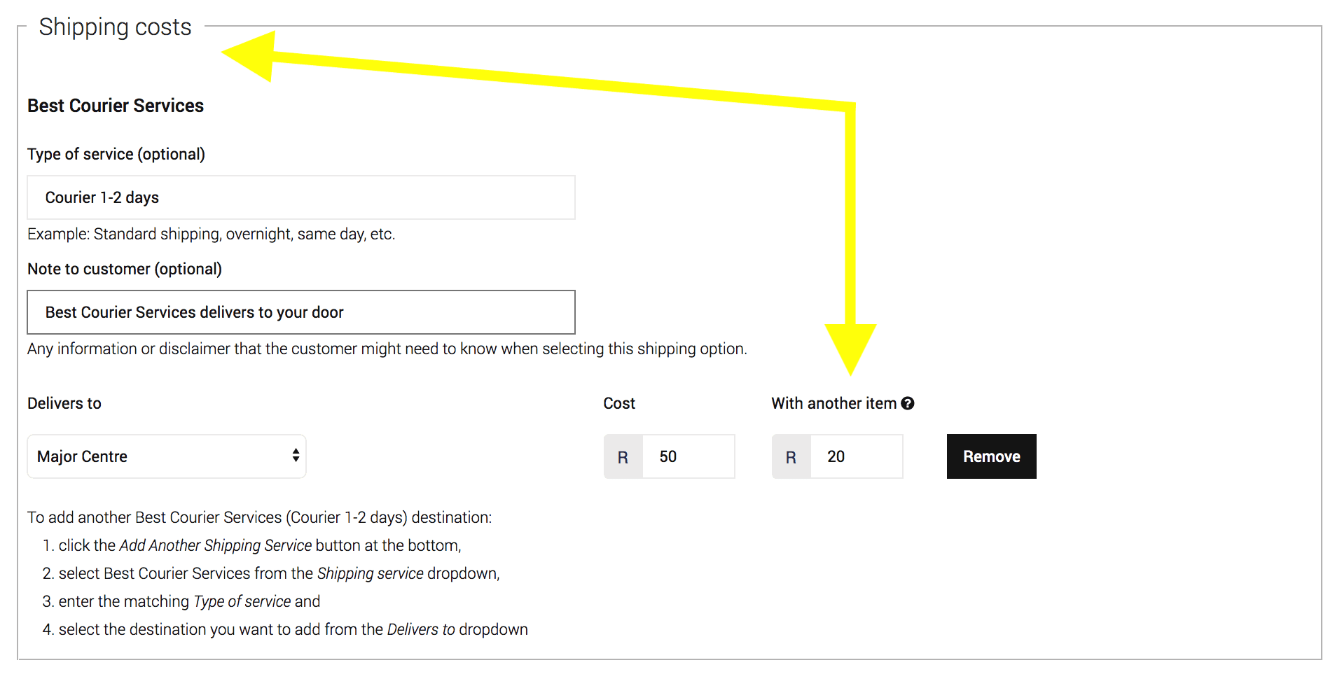 With Another - Shipping Settings