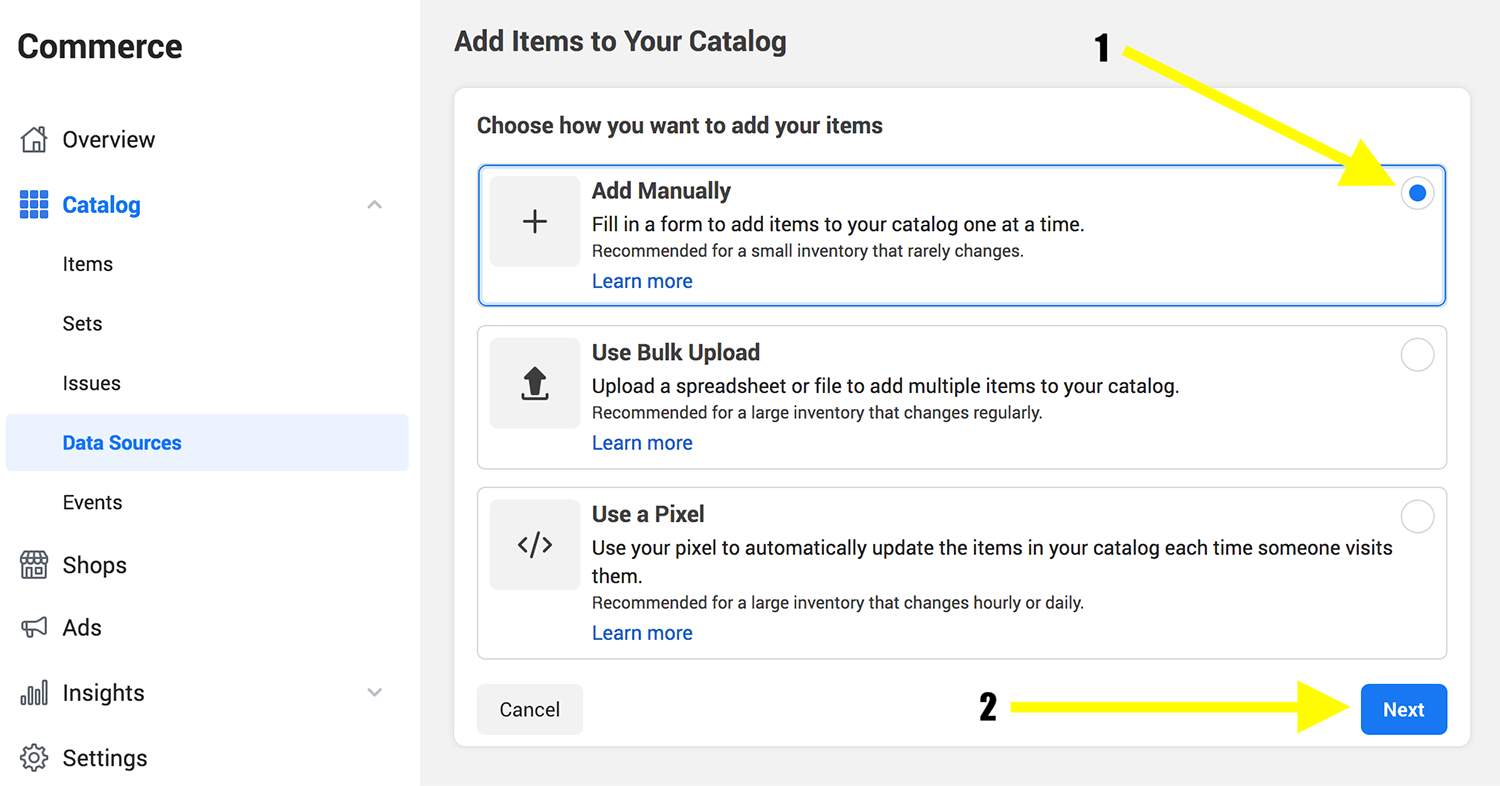 Add items to your Facebook Catalog